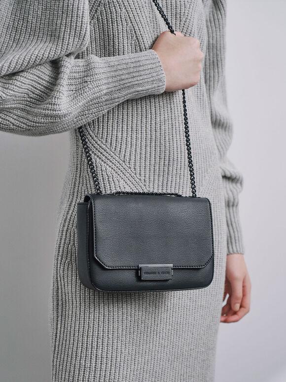 Double Chain Link Crossbody Bag, Ultra-Matte Black, hi-res