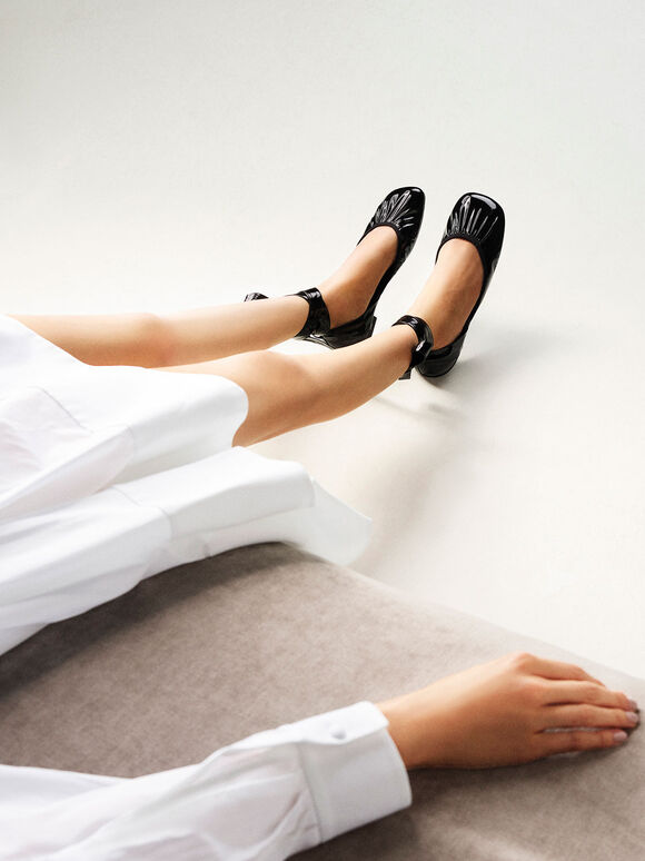 Limited Edition: Patent Tie-Around D'Orsay Flats, Black, hi-res