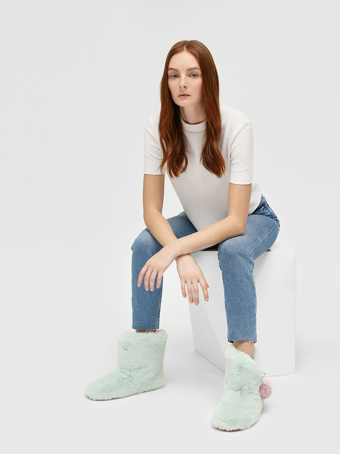 Furry Pom Pom Boots, Mint Green, hi-res