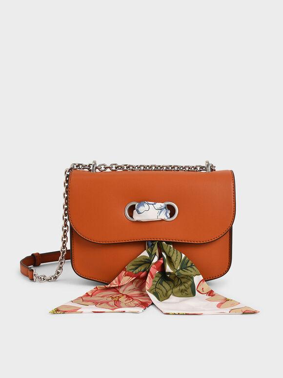 Chiffon Scarf Double Strap Shoulder Bag, Orange, hi-res
