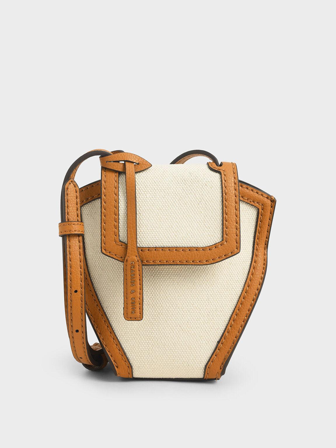 Geometric Canvas Crossbody Bag, Cognac, hi-res