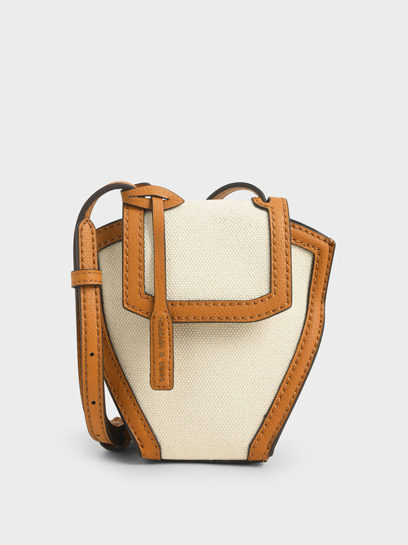 Geometric Canvas Crossbody Bag, Cognac, hi-res