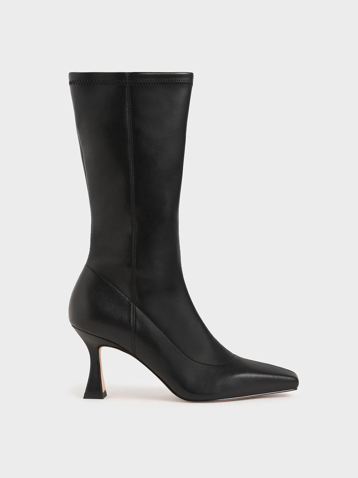 Spool Heel Calf Boots, Black, hi-res