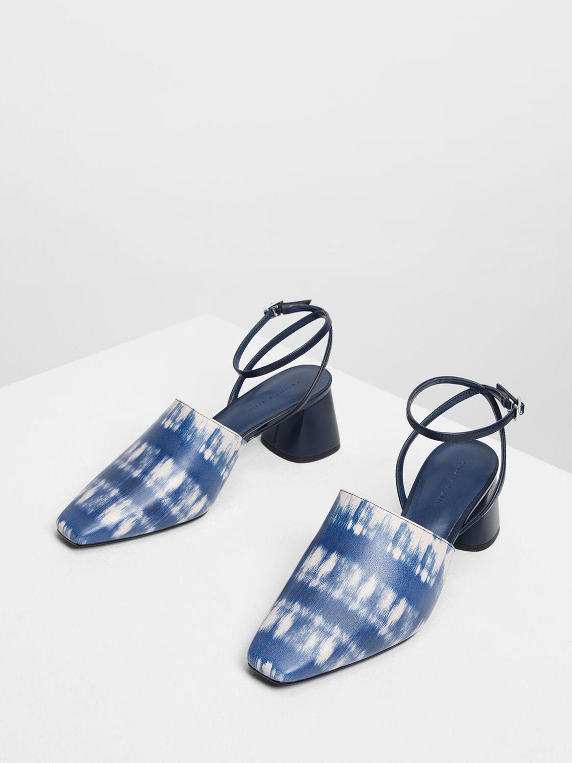 Closed Toe Block Heel Printed Sandals, Dark Blue, hi-res