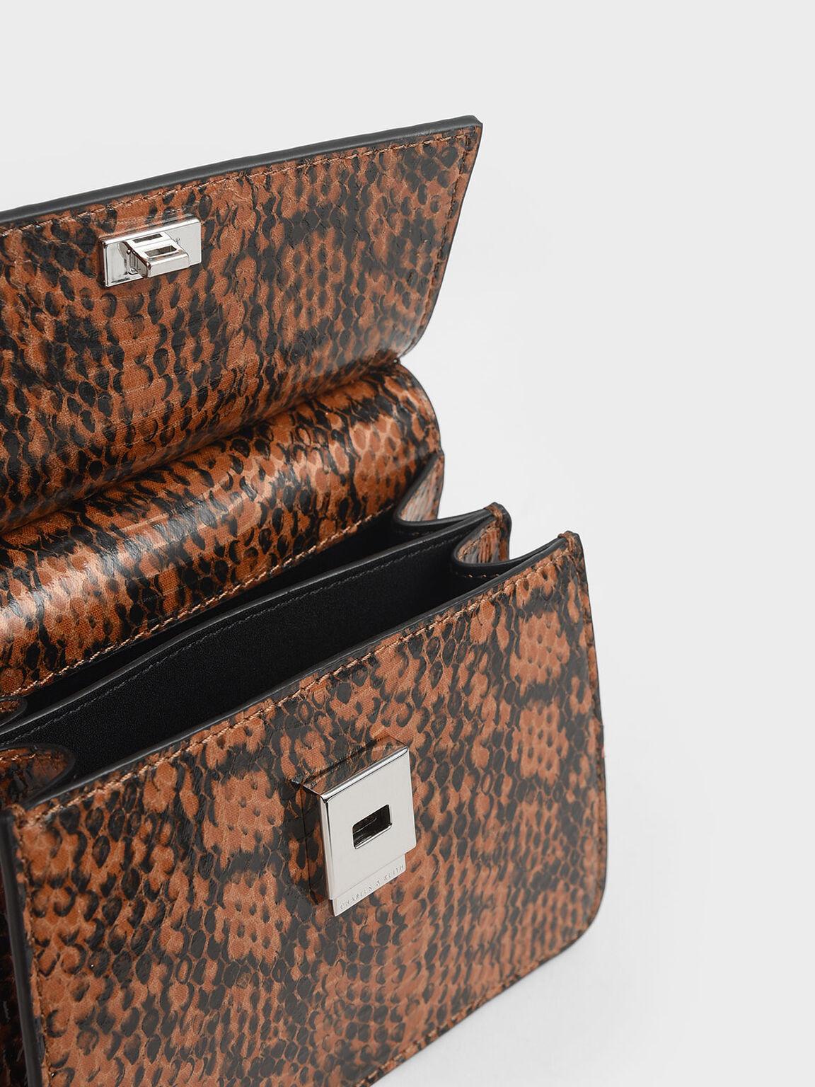 Small Snake Print Acrylic Top Handle Bag, Tan, hi-res