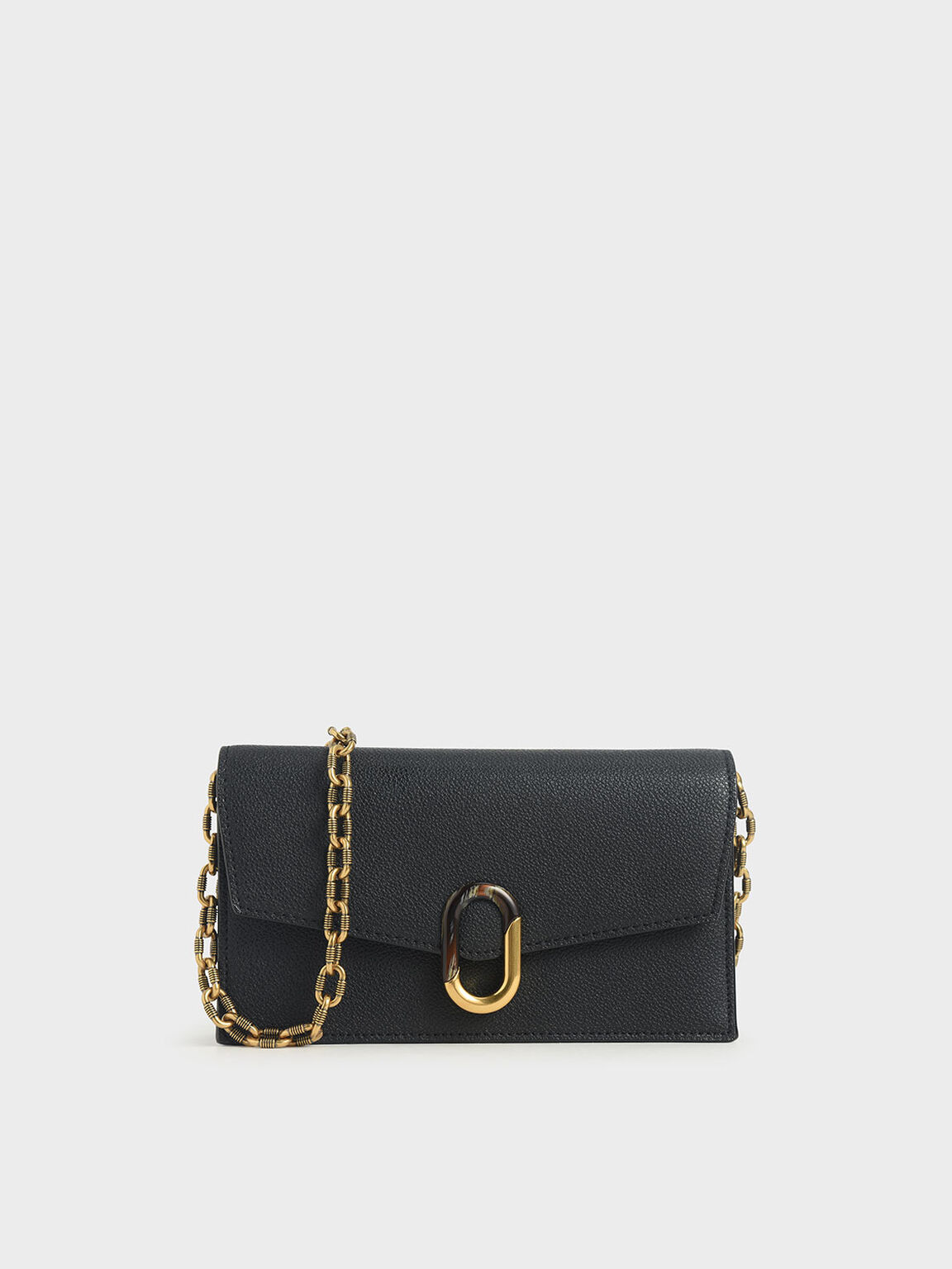 Stone-Embellished Envelope Wallet, Black, hi-res