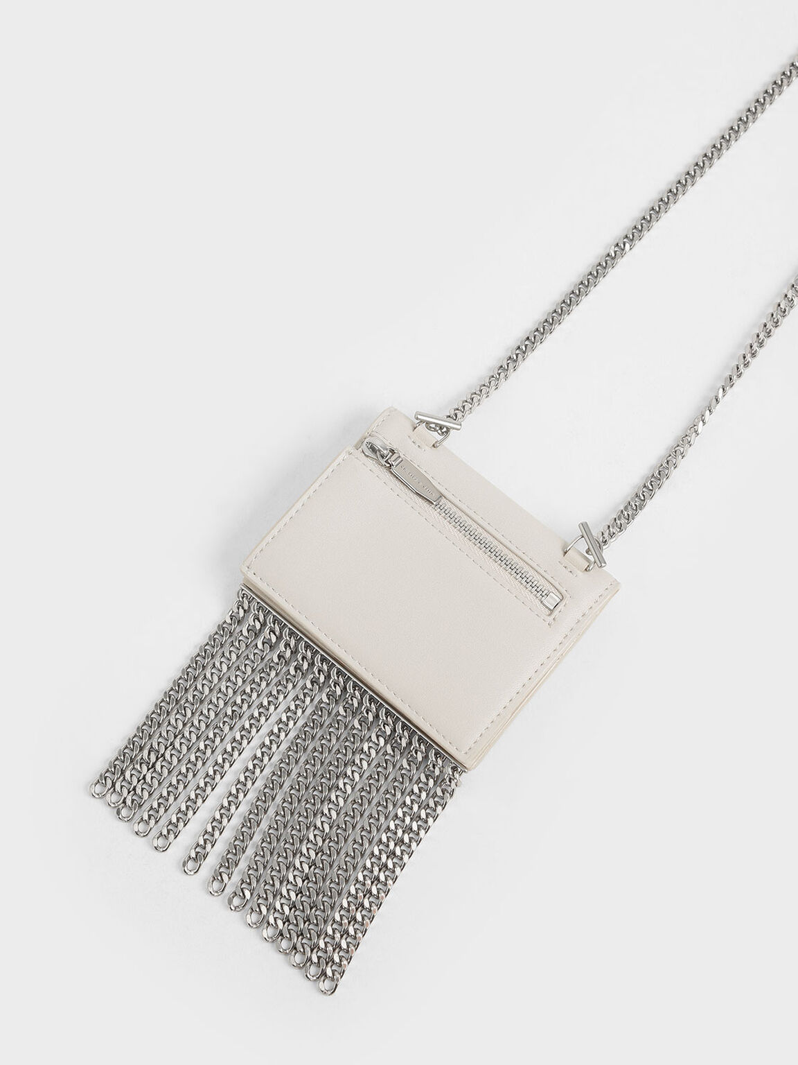 Chain Fringe Card Holder, Cream, hi-res