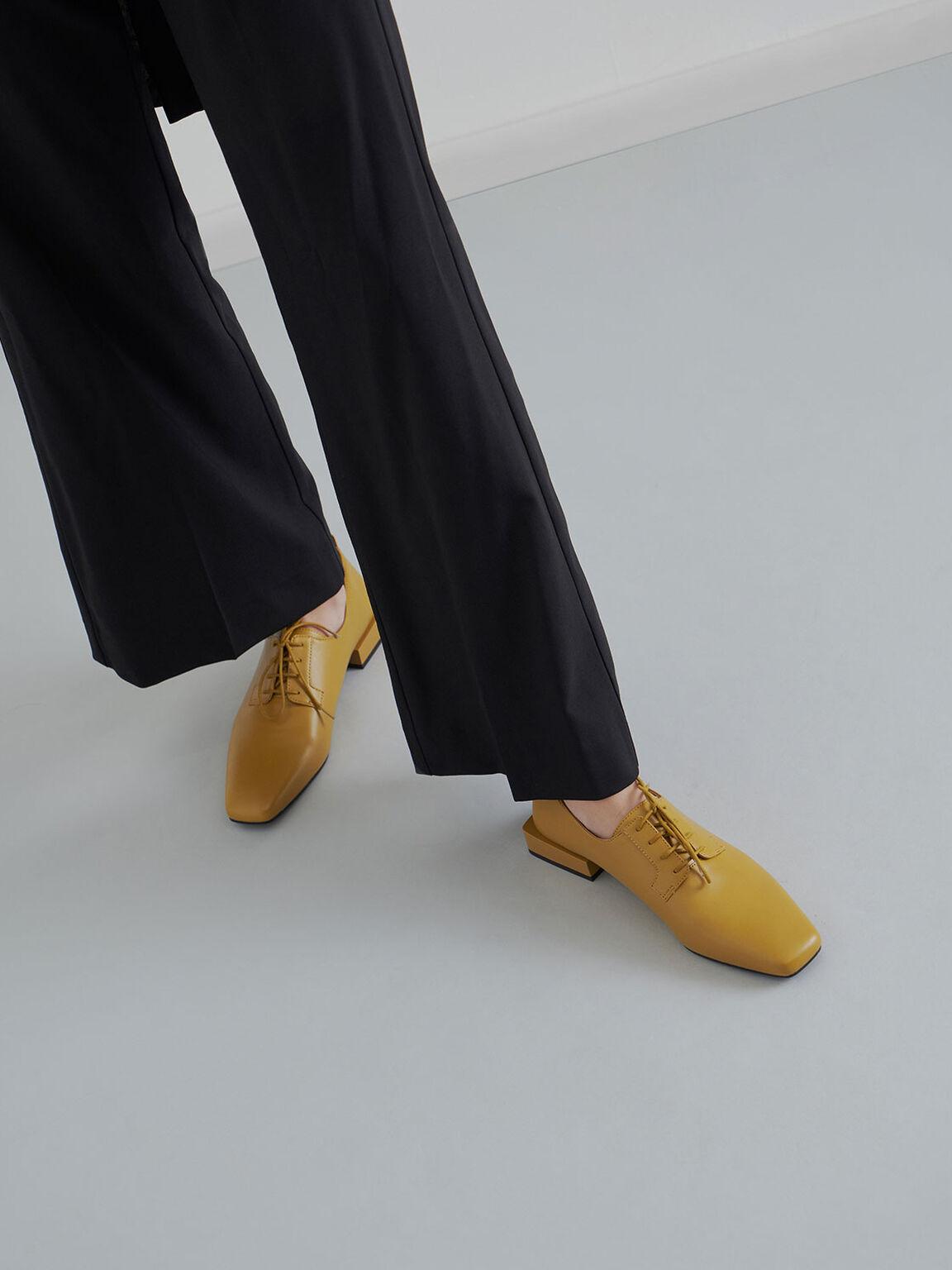 Square Toe Oxford Shoes, Mustard, hi-res