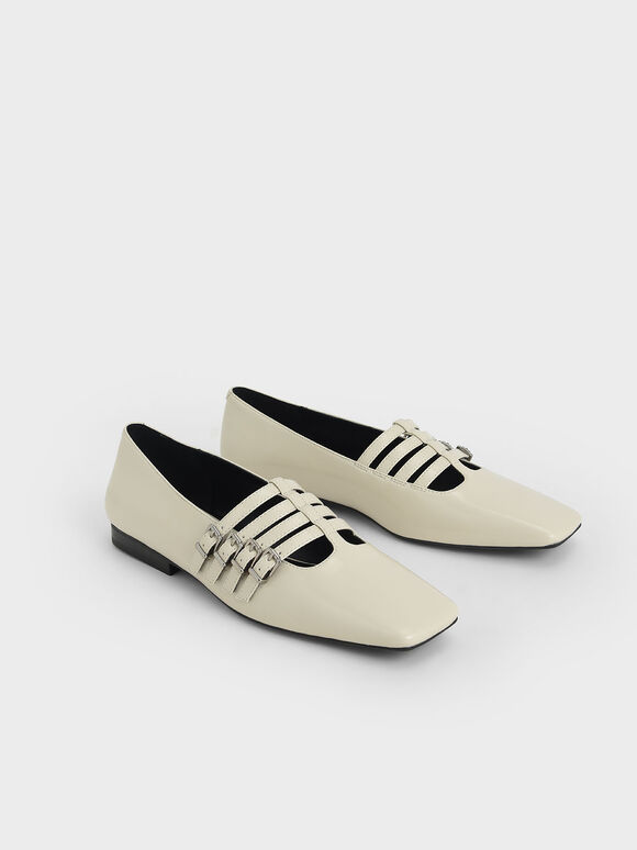 Buckled Mary Jane Flats, Chalk, hi-res