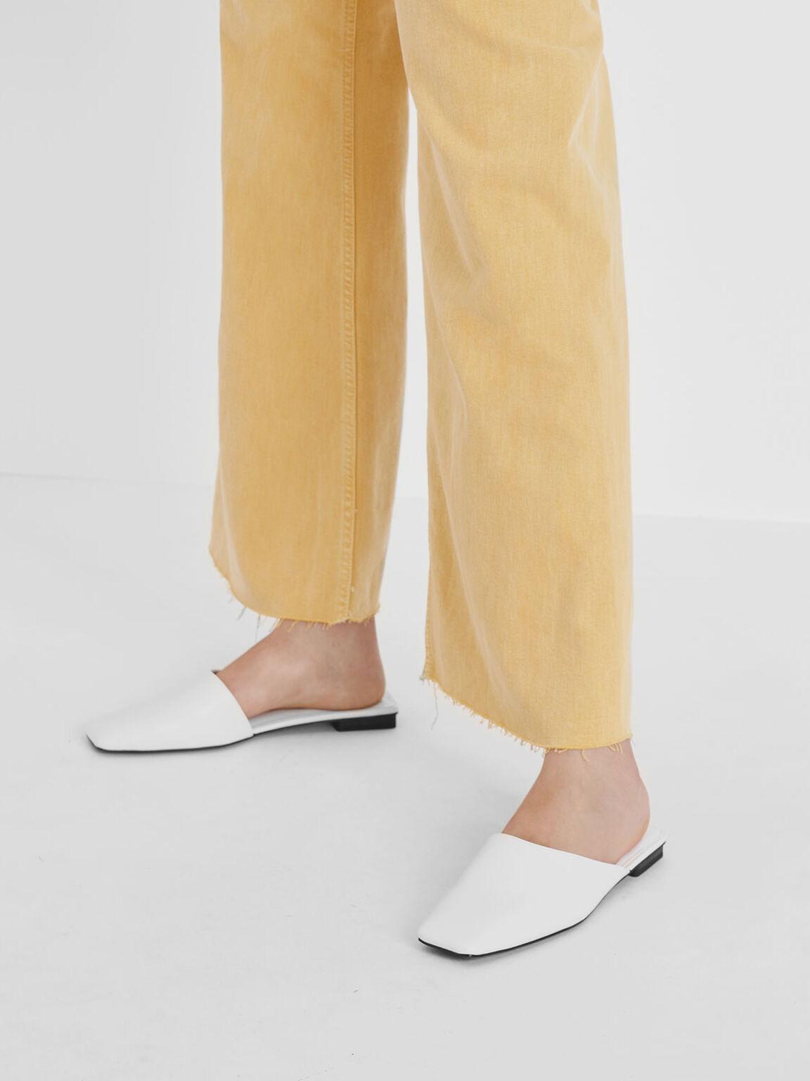 Square Toe Asymmetrical Mules, White, hi-res