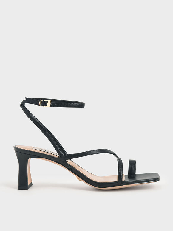 Leather Strappy Crossover Sandals, Black, hi-res