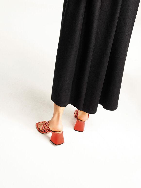 Woven Toe Ring Sandals, Orange, hi-res