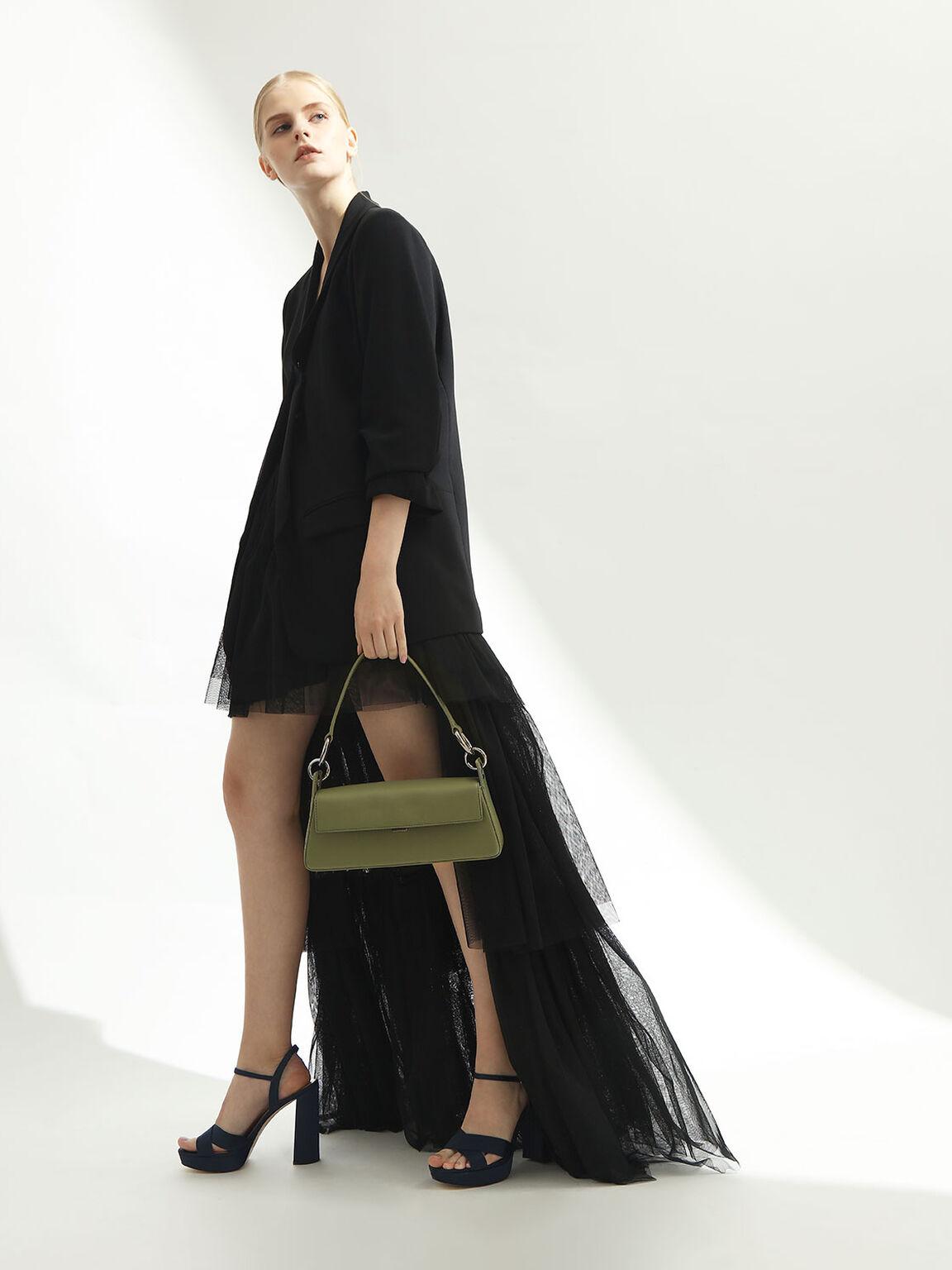 Leather Shoulder Bag, Green, hi-res