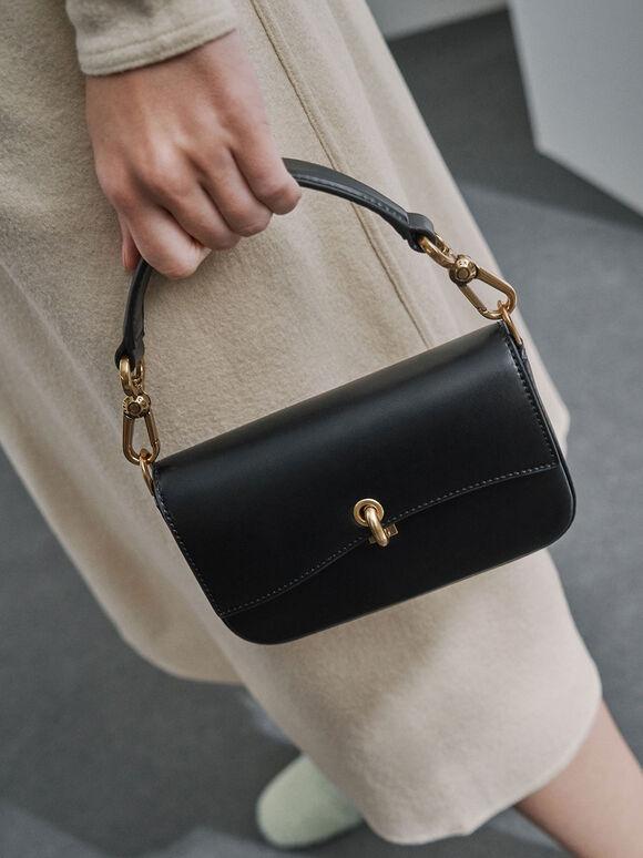 Turn-Lock Front Flap Bag, Black, hi-res