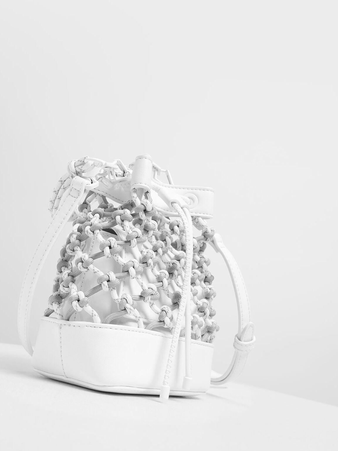 Netted Drawstring Bucket Bag, White, hi-res