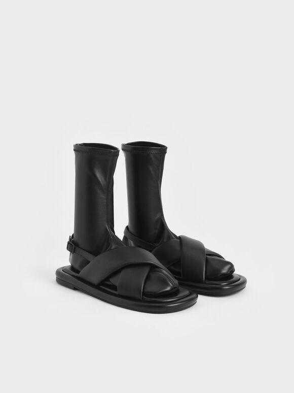 Lucile Flat Calf Boots, Black, hi-res