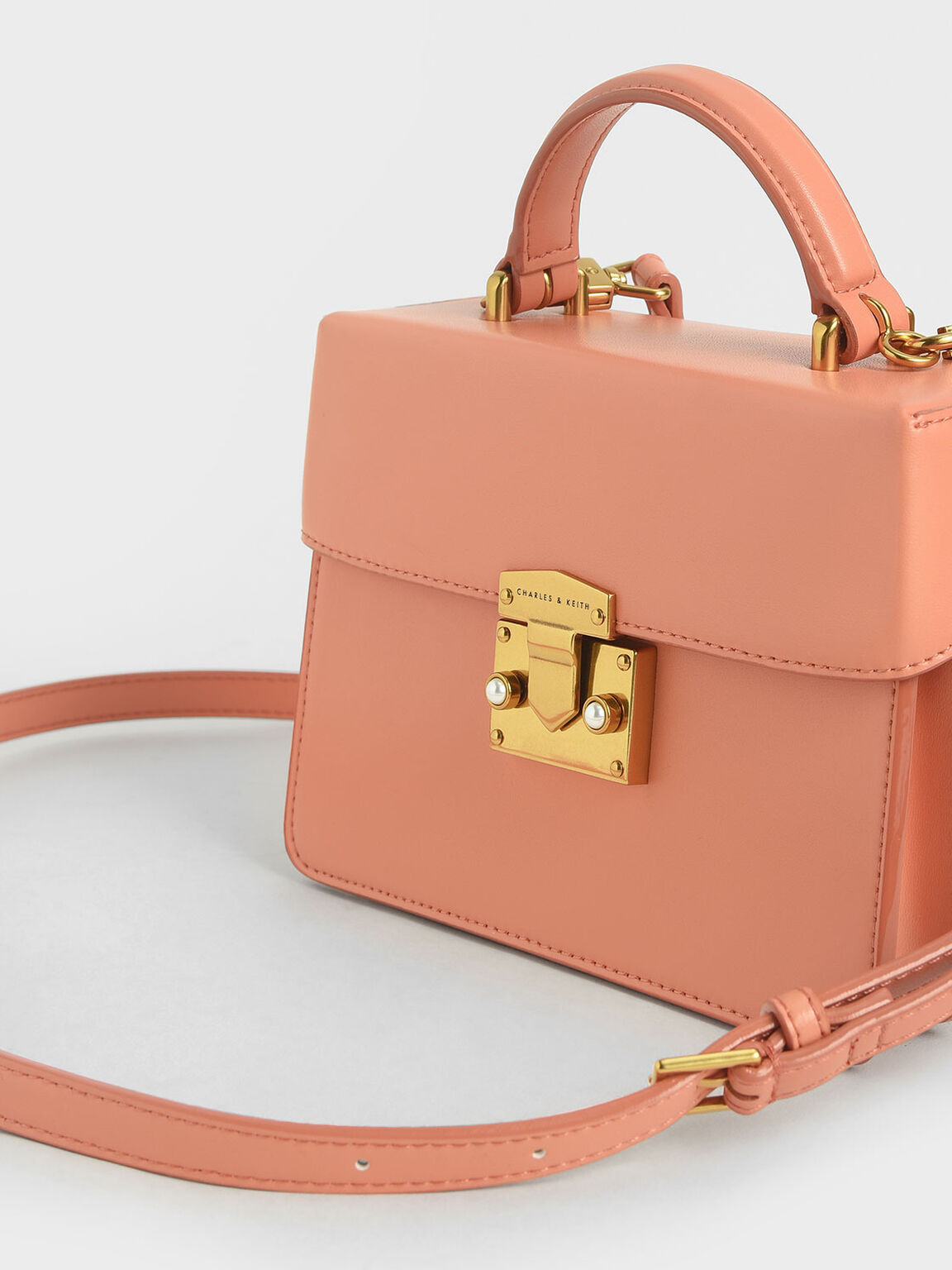 Metallic Push-Lock Handbag, Peach, hi-res