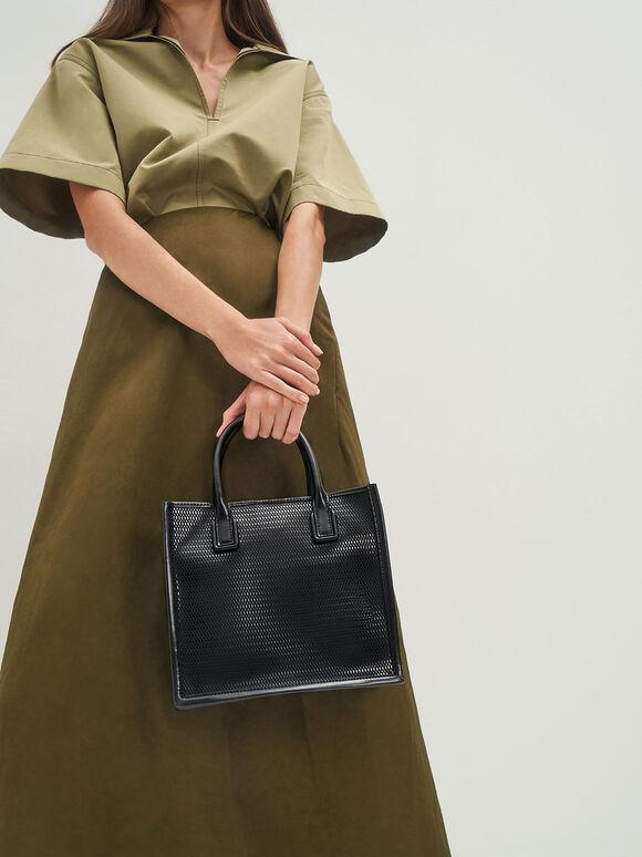 Mesh Double Handle Tote Bag, Black, hi-res