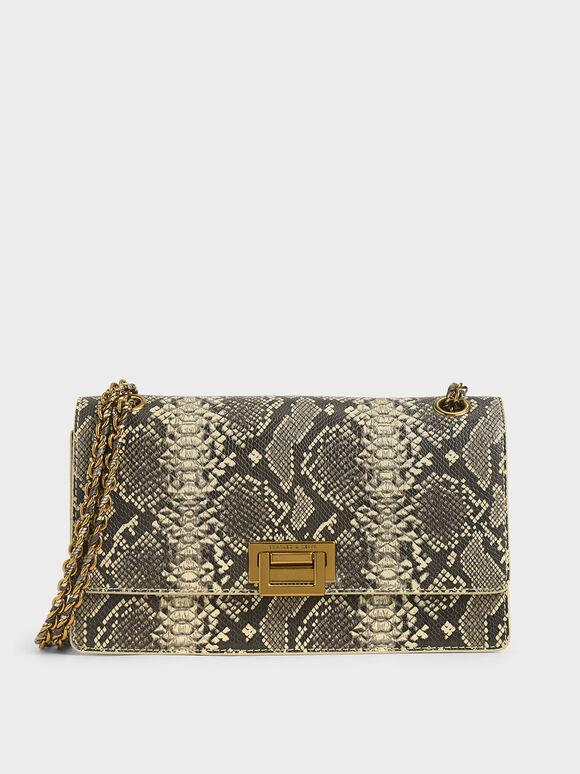 Snake Print Chain Strap Shoulder Bag, Multi, hi-res