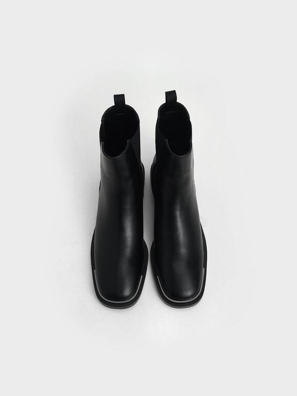 Metal Accent Chelsea Boots, Black, hi-res