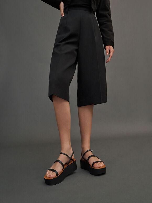 Strappy Flatform Sandals, Black, hi-res