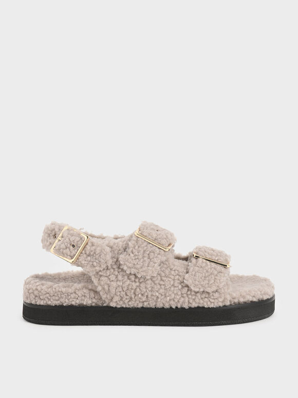 Purpose Collection - Furry Flat Sandals, Taupe, hi-res