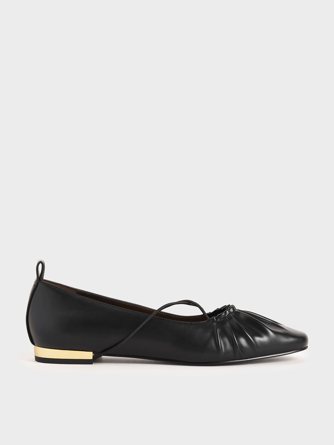 Criss-Cross Ruched Ballerina Flats, Black, hi-res
