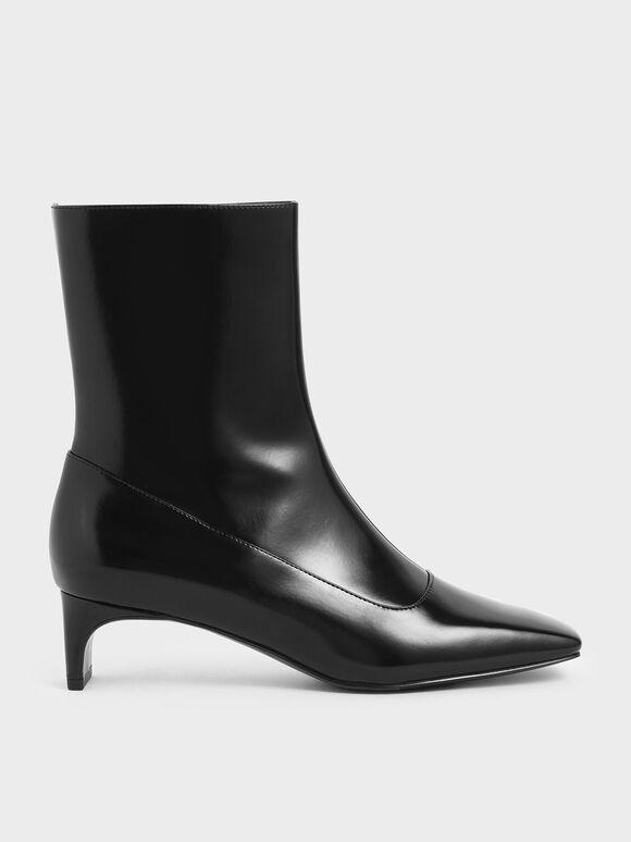 Blade Heel Calf Boots, Black, hi-res