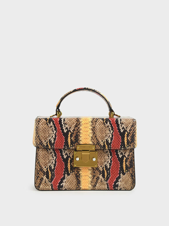Snake Print Top Handle Bag, Multi, hi-res