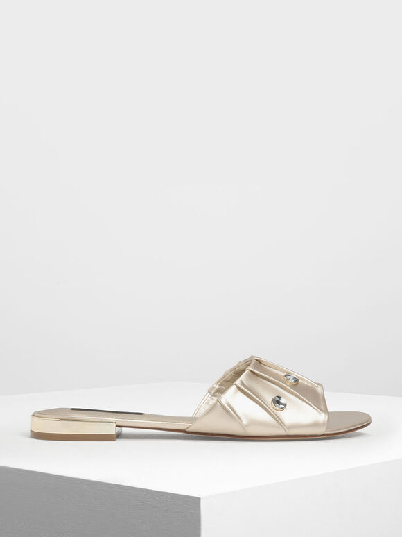 Bejeweled Ruching Slide Sandals, Gold, hi-res