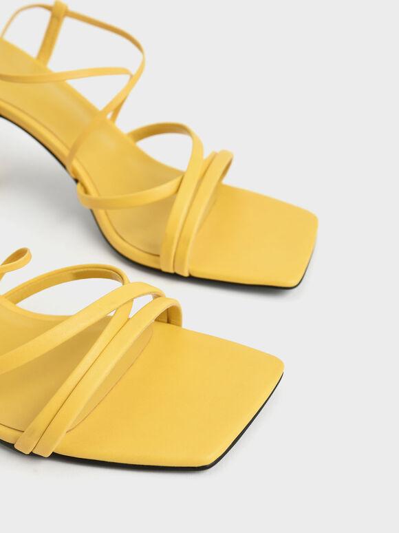 Tie-Around Strappy Sandals, Yellow, hi-res