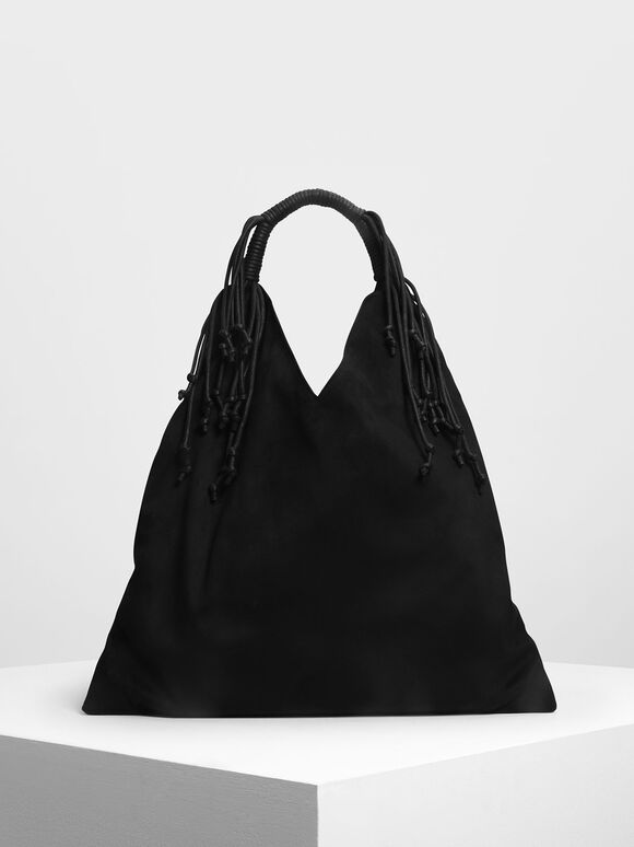 Fringe Detail Slouchy Bag, Black, hi-res