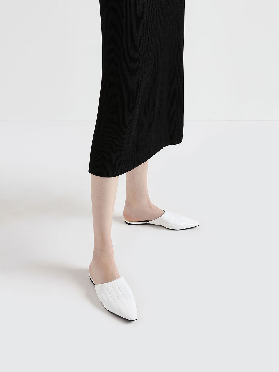 Knitted Pointed Toe Mules, White, hi-res