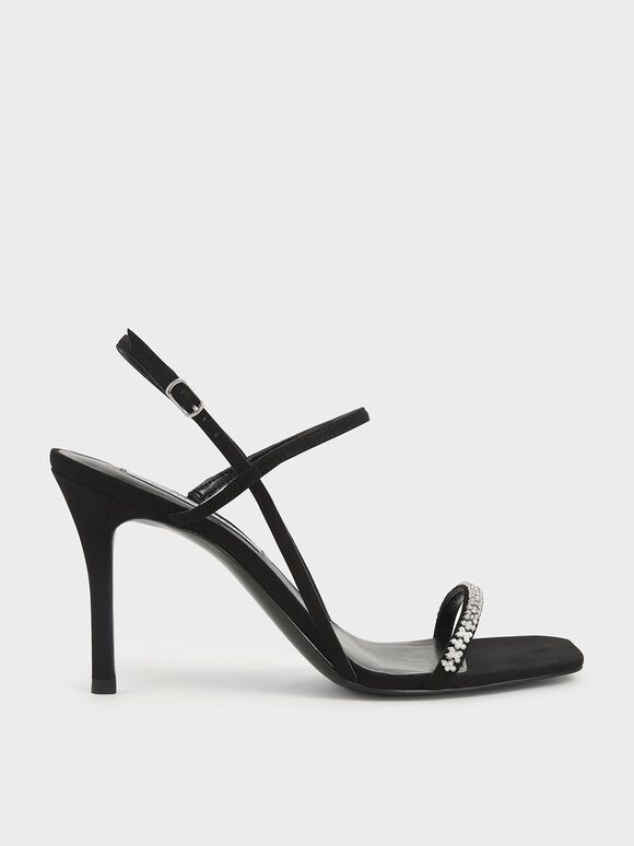 Textured Gem-Embellished Strappy Sandals, Black, hi-res
