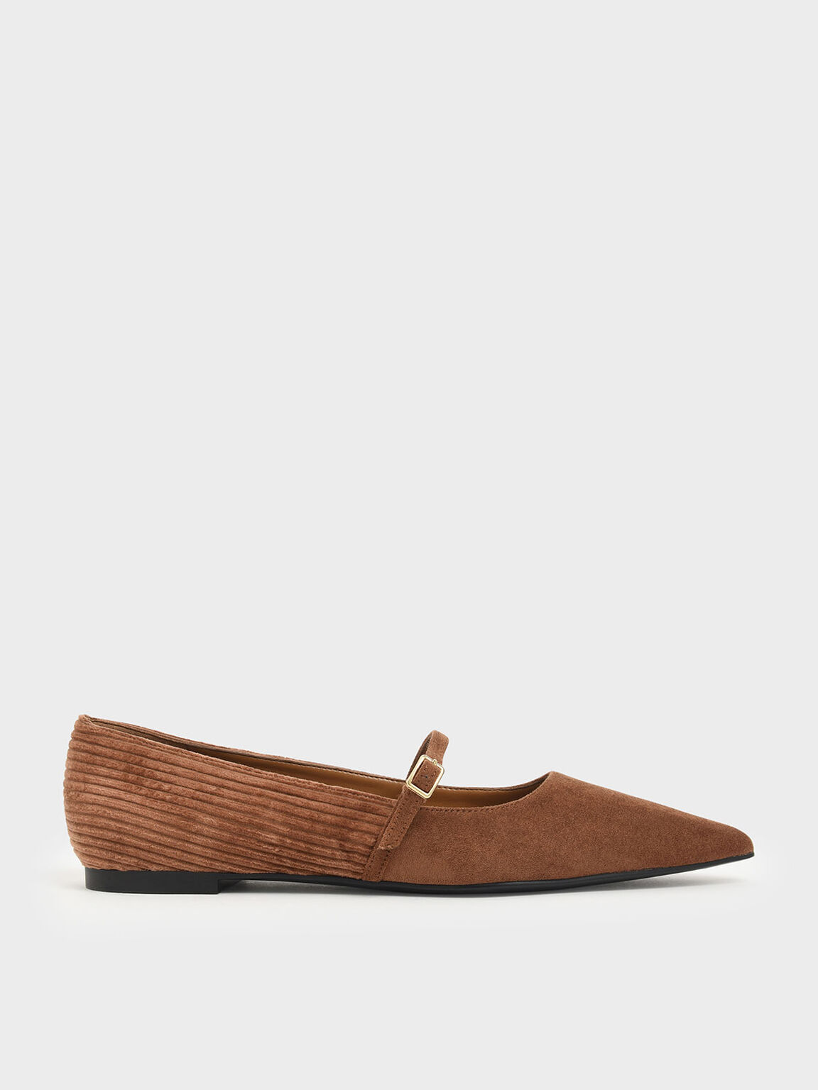 Pointed Toe Corduroy Mary Jane Flats, Mustard, hi-res