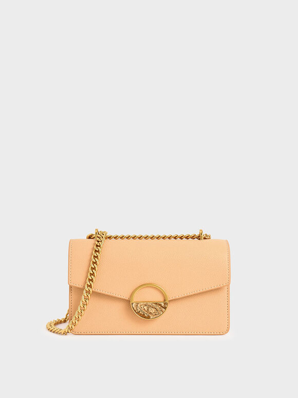 Stone Embellished-Buckle Shoulder Bag, Nude, hi-res