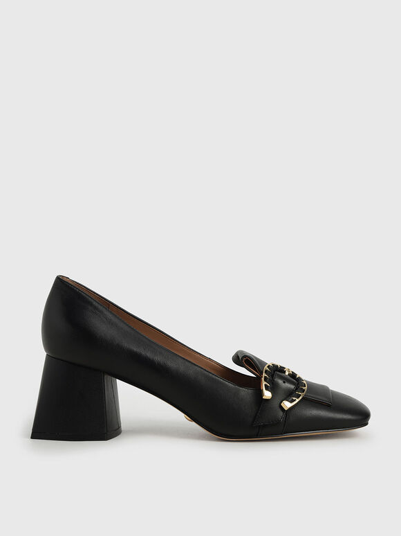 Leather Buckle Loafer Court Shoes, Black, hi-res