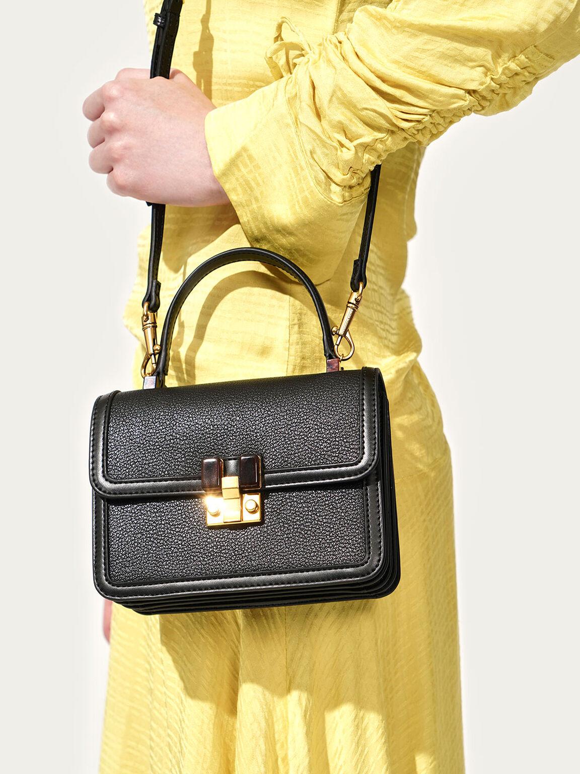 Small Chunky Chain Strap Bag, Black, hi-res
