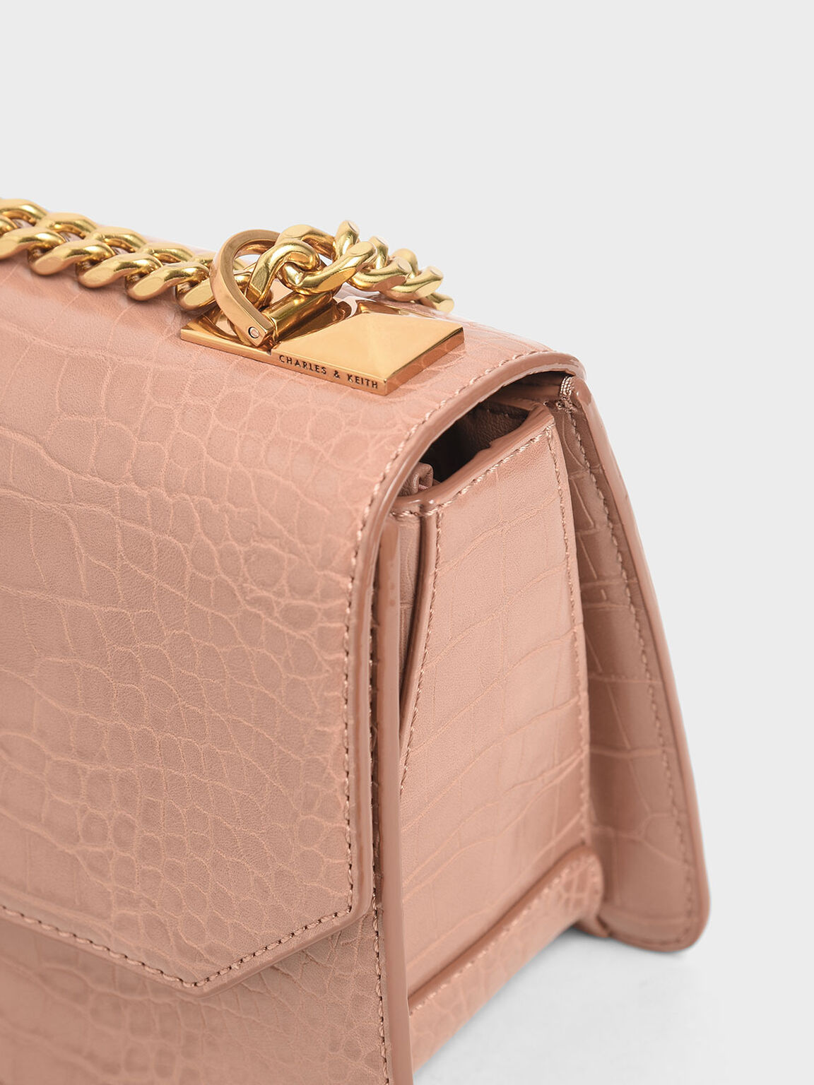 Croc-Effect Chain Strap Crossbody Bag, Blush, hi-res