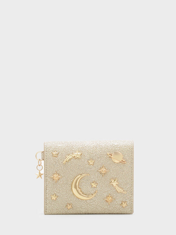 Snap Button Galaxy Embellished Card Holder, Gold, hi-res