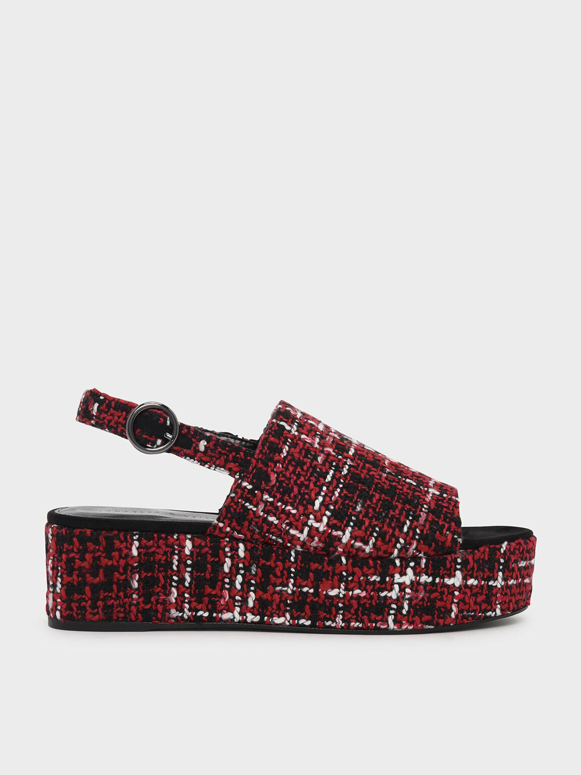 Slingback Flatforms, Red, hi-res