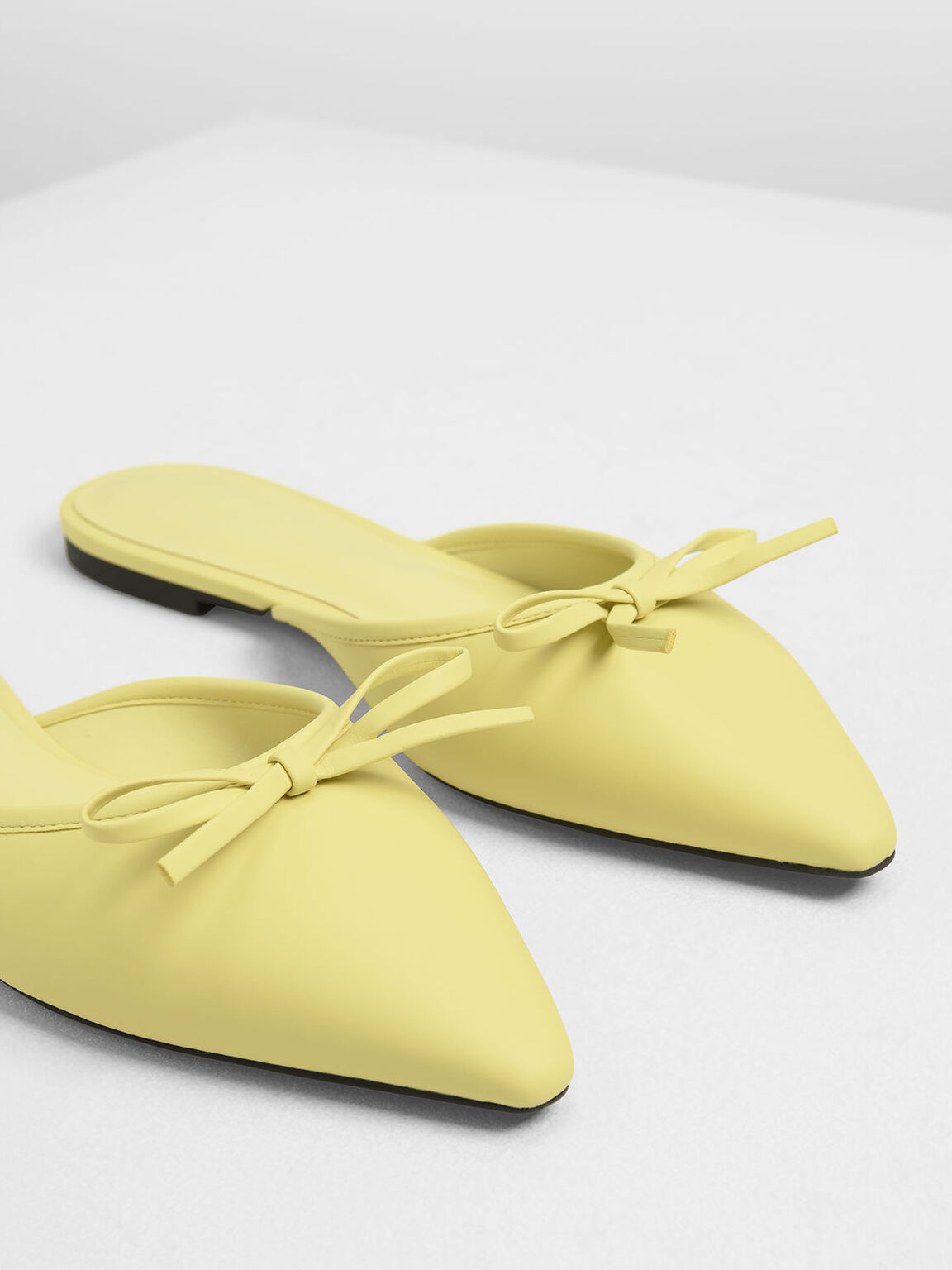 Bow Detail Mules, Yellow, hi-res