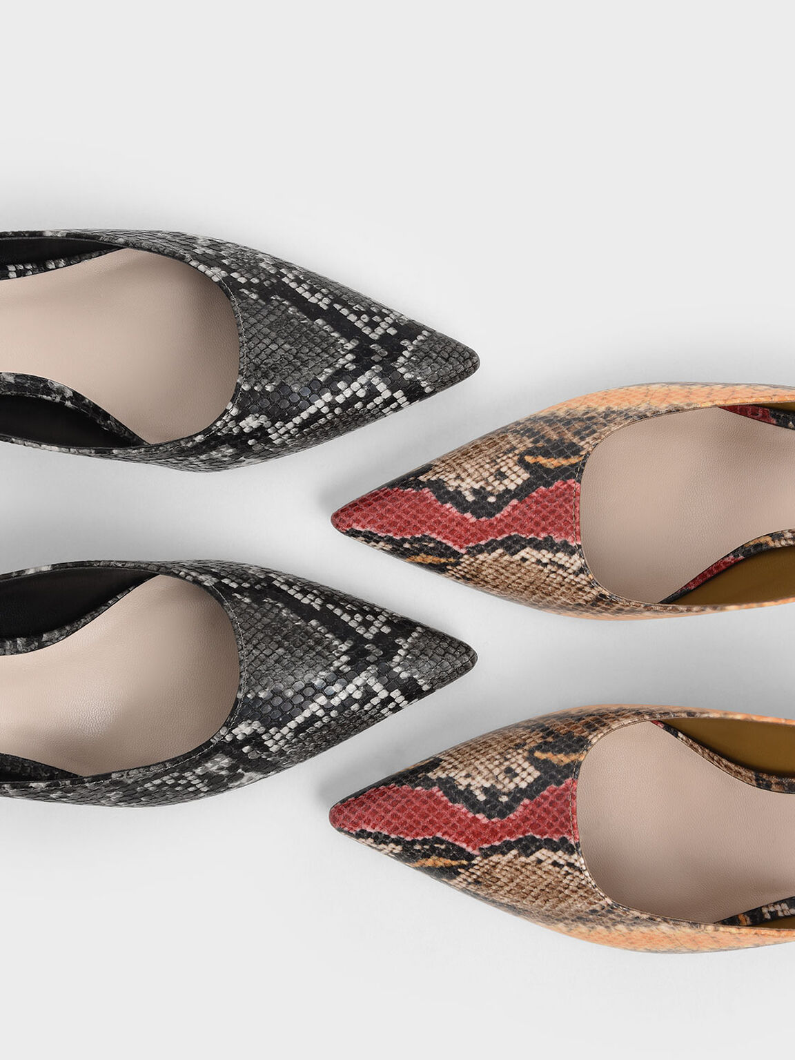 Snake Print Pointed Toe Kitten Heel Mules, Black Textured, hi-res