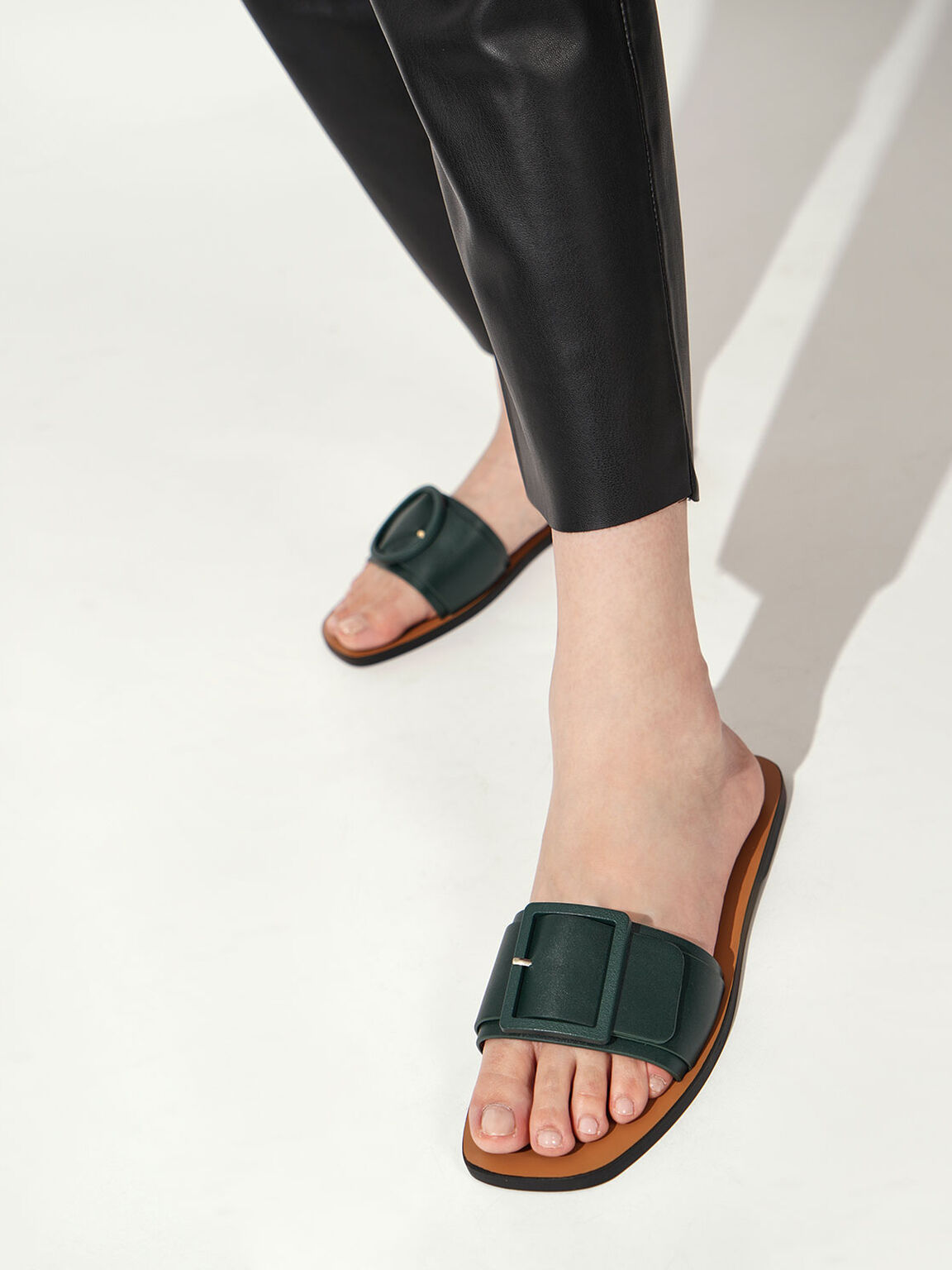 Buckle Strap Slide Sandals, Dark Green, hi-res