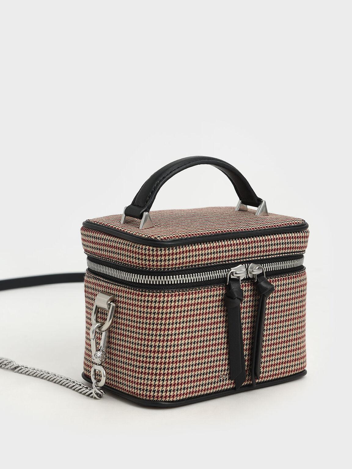 Check Print Two-Way Zip Box Bag, Multi, hi-res
