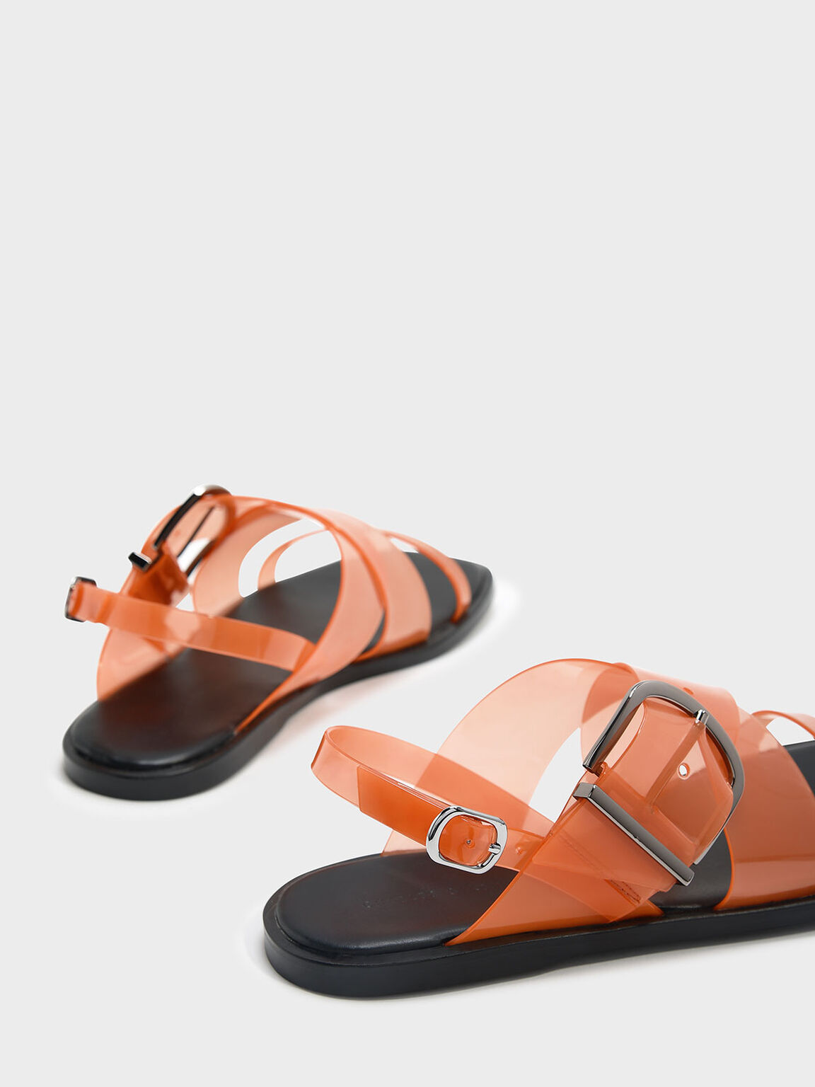 Transparent Slingback Sandals, Orange, hi-res