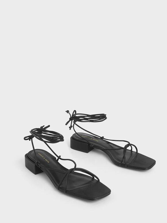 Strappy Ankle Tie Sandals, Black, hi-res