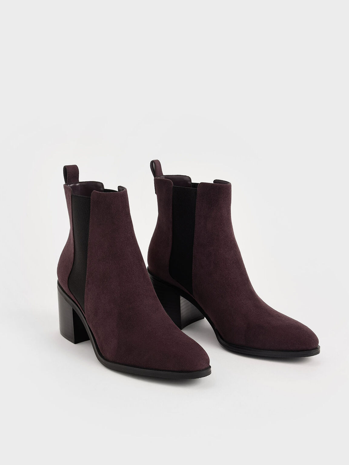 Textured Block Heel Chelsea Boots, Purple, hi-res