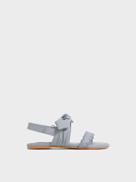 Girls' Bow-Tie Flat Sandals, Light Blue, hi-res