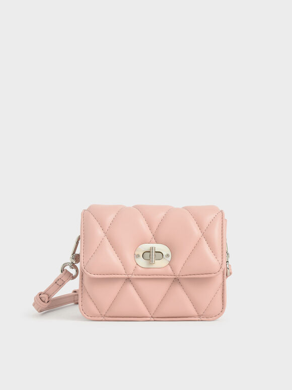 Girls' Quilted Crossbody Bag, Pink, hi-res